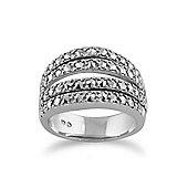 Gemondo 925 Sterling Silver Sparkling Marcasite Statement Ring