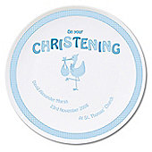 Personalised Stork Baby Boy Blue Christening Plate