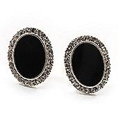 Oval Black Enamel Diamante Clip On Earrings (Silver Tone)