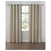 Basketweave Lined Eyelet Curtains - Natural - 66 X 54