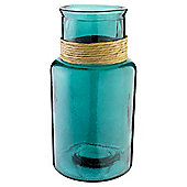 Recycled Vase Large Wicker Wrap, Turquoise