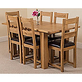 Hampton Solid Oak Extending 120 - 160 cm Dining Table with 6 Lincoln Oak & Leather Chairs