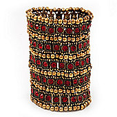 Wide Red Crystal Egyptian Style Flex Bracelet (Burn Gold Tone Finish) - 8cm Width
