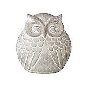 Parlane Grey Cement Owl Ornament - 17 x 16cm