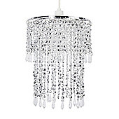 Modern Two Tiered Ceiling Pendant Light Shade in Chrome with Clear Droplets