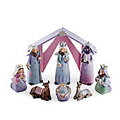 Nine Piece Christmas Caricature Nativity Set in Pastel Resin