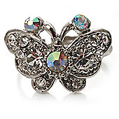 Tiny Crystal Butterfly Ring (Silver Tone)