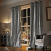 Kylie Minogue - Iliana Ready Made Eyelet Velvet Curtains - Fully Lined - Silver