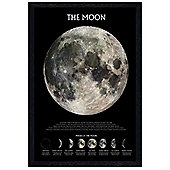 The Moon Black Wooden Framed Phases of the Moon Poster