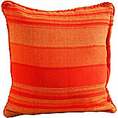Homescapes Cotton Morocco Striped Terracotta Prefilled Cushion, 45 x 45 cm