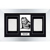 BabyRice Soft Clay Dough Baby Handprints Footprints Kit with Display Frame Silver - Black - White