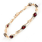 QP Jewellers 8.5in Diamond & Garnet Classic Tennis Bracelet in 14K Rose Gold
