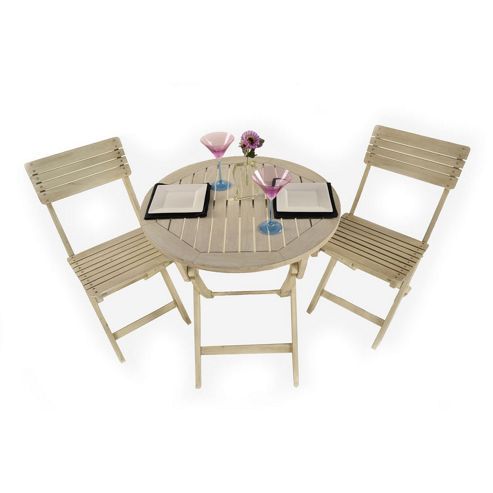 Painted Wooden 2 Seater Round Folding Bistro Set Limed Washed - Outdoor/Garden table and Chair set.