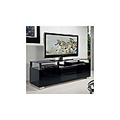 Triskom Wooden TV Stand for LCD / Plasmas with Four Shelves - Black Glass