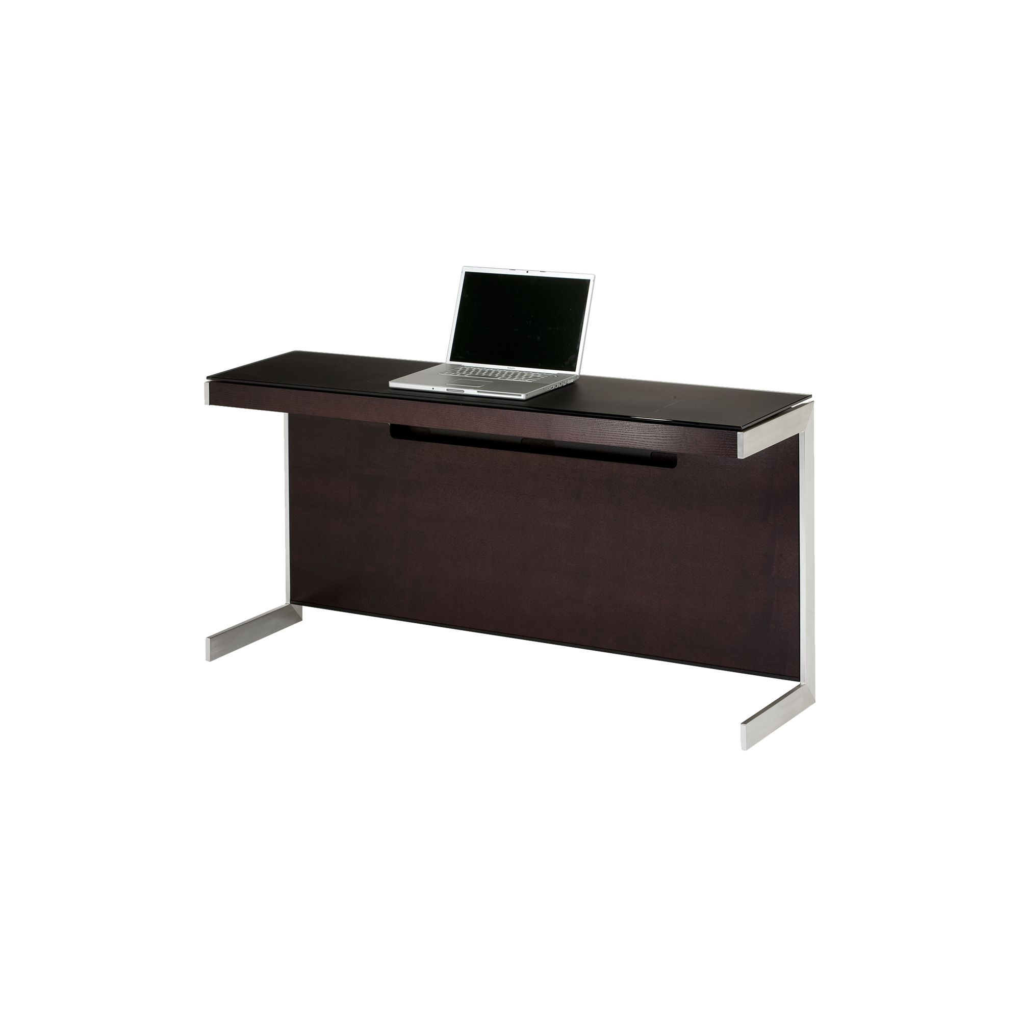 Sequel 6002 Desk in Espresso Stained oak with Glass Top at Tesco Direct
