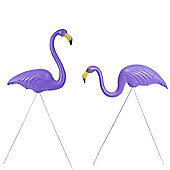 Pair of Authentic Purple Plastic Lawn Flamingo Garden Ornaments by Don Featherstone