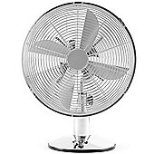"Andrew James 12"" Oscillating Desk Fan in Chrome"