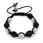 Unisex Shamballa Bracelet Crystal Black/Clear Swarovski Crystal Beads 10mm - Adjustable