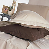 Belledorm Plain Dyed 200 Thread Count Plain Hem Pillowcase in Chocoholic (Set of 2)