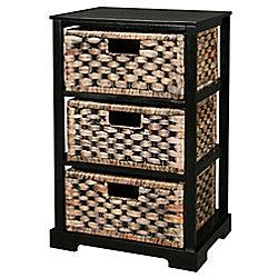 Miami - 3 Drawer Storage Cabinet - Brown / Black