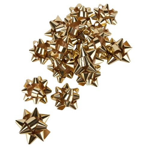 Tesco Gold Bows Christmas Decoration, 20 Pack