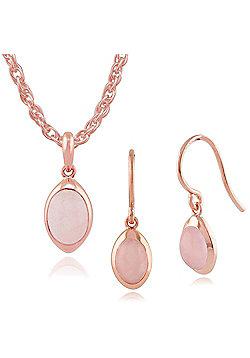 Gemondo Rose Quartz 'Gala' Pastel Gold Plated Silver Drop Earring & 45cm Necklace Set