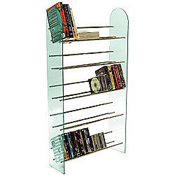 Luxor - 5 Tier Media Storage Shelf Rack - Glass / Chrome