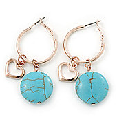 Gold Plated Heart & Turquoise Bead Charm Hoop Earrings - 50mm Length