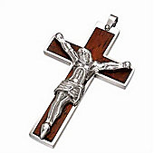 Urban Male Men's Stainless Steel & Wood Large Crucifix Pendant