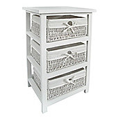 Premier Housewares Storage Unit with Three Maize Baskets - White