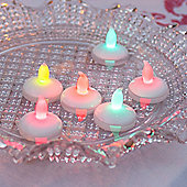Set of 6 Floating Colour Changing LED Battery Tea Lights
