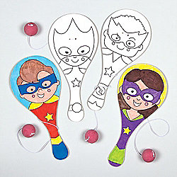 Star Hero Colour-in Biff Bats, Kid's Themed Party Bag Filler (Pack of 4)
