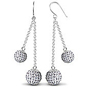 Jewelco London Sterling Silver Crystal 8mm & 10mm Double Disco Drops Shamballa Earrings - white
