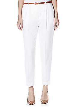 F&F Linen Blend Tapered Trousers with Belt - White