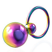 1.2mm Stainless Steel Anodised Nipple Ring & Dangle Ball