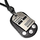 Urban Male Adjustable Black Leather Necklace with Military Style Dog Tag