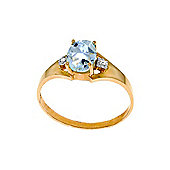 QP Jewellers Diamond & Aquamarine Oval Desire Ring in 14K Rose Gold