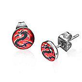 Urban Male Men's Stainless Steel Black & Red Dragon Stud Earrings 7mm