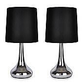 Pair of Teardrop Touch Table Lamps in Polished Chrome & Black