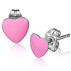 Urban Male Stainless Steel & Resin Pink Heart Studs 7mm