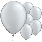 Silver Balloons - 11' Metallic Latex Balloon (6pk)