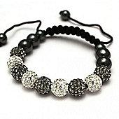 Grey and Clear Crystal Unisex Fashion Bracelet - SHAMBRAC-72