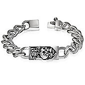 Urban Male Stainless Steel Skull & Rose Curb Chain Bracelet