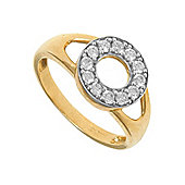 Jewelco London 9ct Gold Ladies' Identity ID Initial CZ Ring, Letter O - Size P