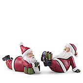 Fun Pair of Laying Father Christmas Figurine Ornaments