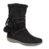 Pavers Calf Boot with Wraparound Lace & Pom Poms - Black