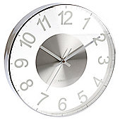 Karlsson Slim Glass Wall Clock - Silver