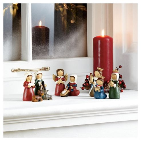 Tesco Ornament Nativity Scene Cute Traditional