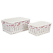 Tesco Wicker Lined Lidded Baskets Pack of 2, Floral Fabric Lined, White