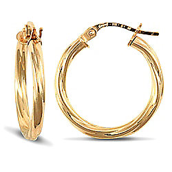 Jewelco London 9ct Yellow Gold 2.5mm round-tube Twisted hoop Earrings